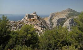 Stari Grad - Fortica - the ruins of fortress above the town Omis Stock Photo