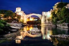 Stari het meest, Mostar, Bosnië-Herzegovina Stock Afbeeldingen