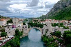 Stari la maggior parte della vista del ponte, Mostar, Bosnia-Erzegovina fotografia stock libera da diritti