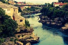 Stari la maggior parte di vecchio ponte Mostar immagine stock