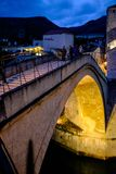 Stari Most bridge archway entrance, Mostar, Bosnia and Herzegovina stock images