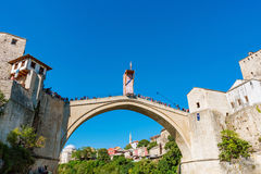 Stari Most bridge with Red Bull diver Royalty Free Stock Images