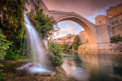 Stari Most. Looking up at the Stari Most, a reconstruction of a 16th century Ottoman arc bridge that crosses the river Neretva in the city of Mostar in Bosnia Stock Photography
