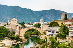 Stari Most (Old Bridge) of Mostar, a UNESCO heritage site in Her Royalty Free Stock Images
