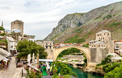 Stari Most (Old Bridge) of Mostar, a UNESCO heritage site in Her Stock Image