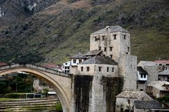 Stari Most Ottoman bridge and embankment fortification Mostar Bosnia Herzegovina Royalty Free Stock Photos