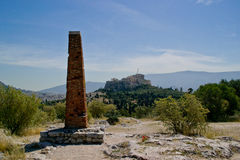 Staring Acropolis from the Pnyx stock photography