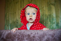 Staring baby, 8 months old. Straring baby with red jacket, 8months old Royalty Free Stock Photo