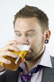 Staring at Beer Stock Photo
