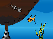Staring at Death. Cartoon of a fish watching the dead remains of another fish at a broken oil pipe gushing crude into the ocean. EPS version has a mask to reveal vector illustration