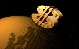 Staring dollar on the world Stock Image