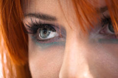 Staring eyes. Close up of a redhead girl staring Stock Photos
