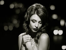 Staring gorgeous lady. black and white royalty free stock image