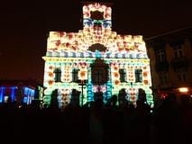 Staring in history. Town hall on Liberty Square in Lodz illuminated illuminations referring to the history of the city. The photograph was taken during the Stock Images
