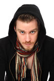 Staring man in black hoodie shirt Royalty Free Stock Photo