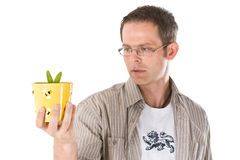 Staring at a Plant Stock Image