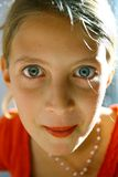 Staring teenage girl portrait stock photo