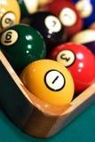 Stark beanspruchte Billiardkugeln nah oben Lizenzfreie Stockfotos