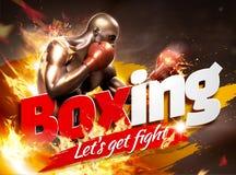 Stark boxare med flammaeffekt stock illustrationer