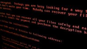 Stark datavirus Petya A arkivfilmer