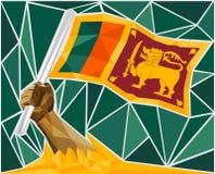 Stark hand som lyfter flaggan av Sri Lanka royaltyfri illustrationer