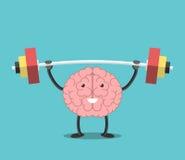 Stark hjärna med skivstången stock illustrationer
