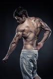 Stark idrotts- mankonditionmodell som poserar tillbaka muskler Royaltyfria Bilder