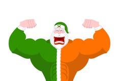 Stark irländare Santa Daddy av jul Kraftiga Santa Claus Ir Arkivfoto