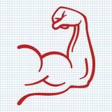 Stark makt, muskel beväpnar symbolen stock illustrationer