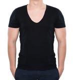 Stark man i svartmellanrumst-skjorta royaltyfria foton