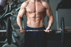 Stark man med den muskulösa kroppen som utarbetar i idrottshall Viktövning med skivstången i konditionklubba tonad bild Royaltyfria Bilder