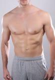Stark man med perfekt abs, skuldror, biceps, triceps, bröstkorg Arkivbild