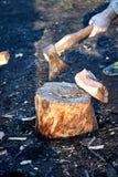 Stark man som hugger av ett träd i landet med ett skarpt yxaslut upp yxaflugachiper fotografering för bildbyråer