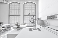 Stark pure white monochrome kitchen interior Stock Image