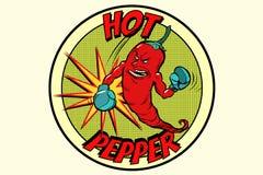 Stark röd peppar för emblem, kryddig smak vektor illustrationer