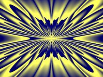 Stark raving mad. Explosive looking kaleidoscope in blue and yellow Royalty Free Stock Photos