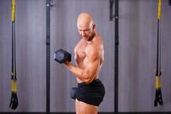 Stark riven sönder skallig man som utarbetar med hantlar i idrottshall Sport, arkivfoton