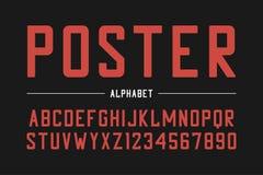Stark Sans Serif stilsort Hög djärv stilsort, förtätat alfabet med nummer vektor royaltyfri illustrationer