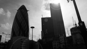 Stark Skyline. Monochrome portrait of part of the London skyline, thrown into relief by the afternoon sun Stock Photos