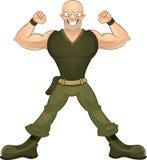 Stark soldat som visar hans biceps royaltyfri illustrationer