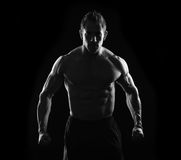 Stark strong man. Stark black and white strong man flexing royalty free stock photos