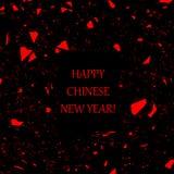Stark vereinfachte rote und schwarze Karte des Chinesischen Neujahrsfests Stockfoto
