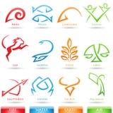 Stark vereinfachte Tierkreissternzeichen Stockbilder