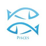Stark vereinfachtes Fisch-Tierkreis-Stern-Zeichen Stockfoto