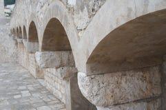 Starka väggar i gammal stad av Dubrovnik Fotografering för Bildbyråer