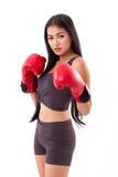 Starke annehmende kämpfende Position des Eignungsfrauenboxers oder -kämpfers Stockbild