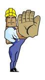 Starke Arbeitskraft, die Endhandzeichen gestikuliert. Lizenzfreie Stockfotos