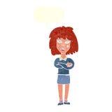 starke Frau der Karikatur mit den gefalteten Armen mit Spracheblase Stockbild