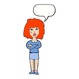 starke Frau der Karikatur mit den gefalteten Armen mit Spracheblase Stockfotos