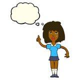 starke Frau der Karikatur mit Idee mit Gedankenblase Stockfotos
